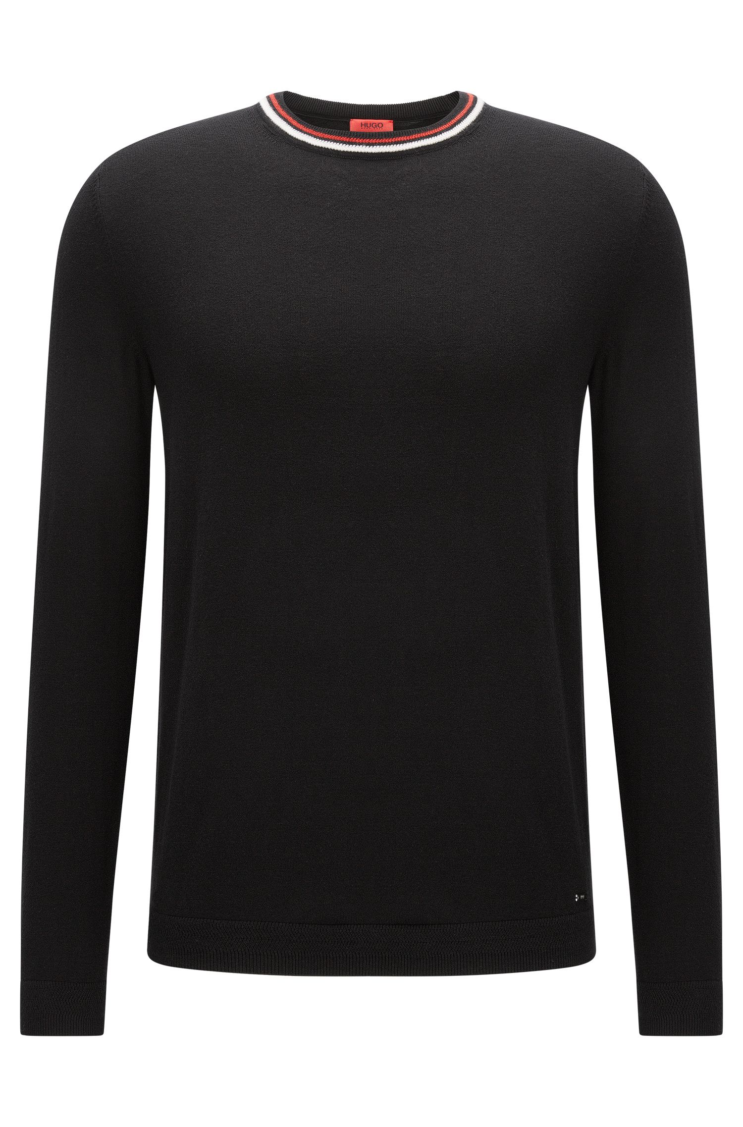 Crew-neck cotton-blend sweater with stripe detail