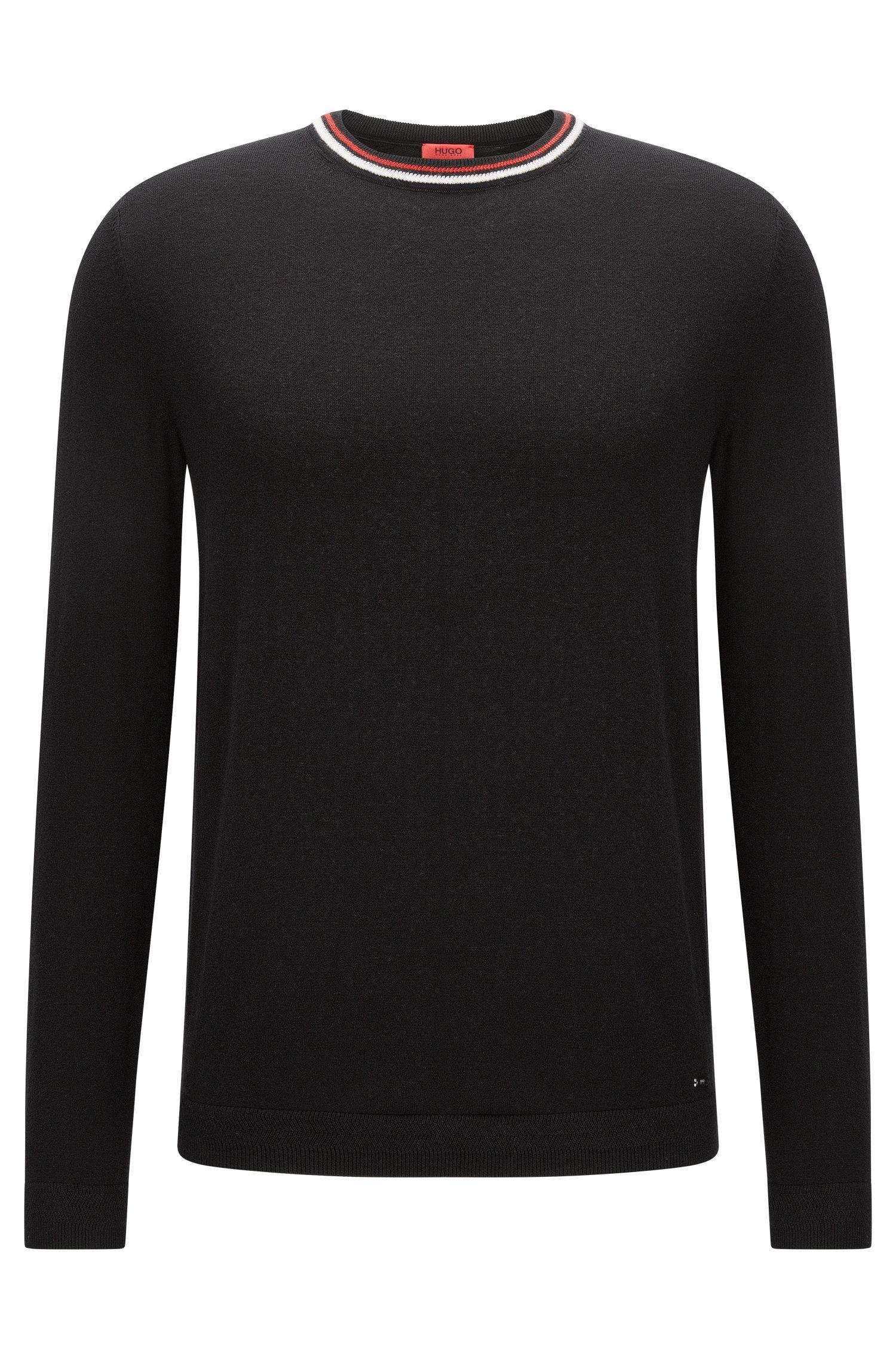Jersey de cuello redondo en mezcla de algodón con detalle de rayas