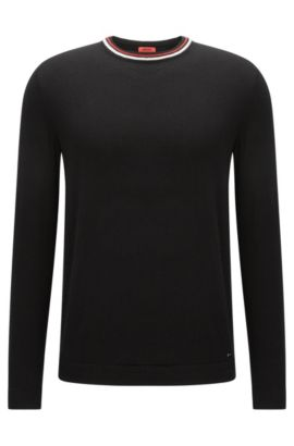 Crew-neck cotton-blend sweater with stripe detail , Black
