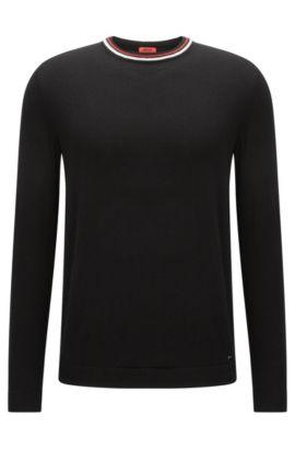 Slim-Fit Pullover aus Baumwoll-Mix mit Seide und Kaschmir und Streifen-Detail , Schwarz