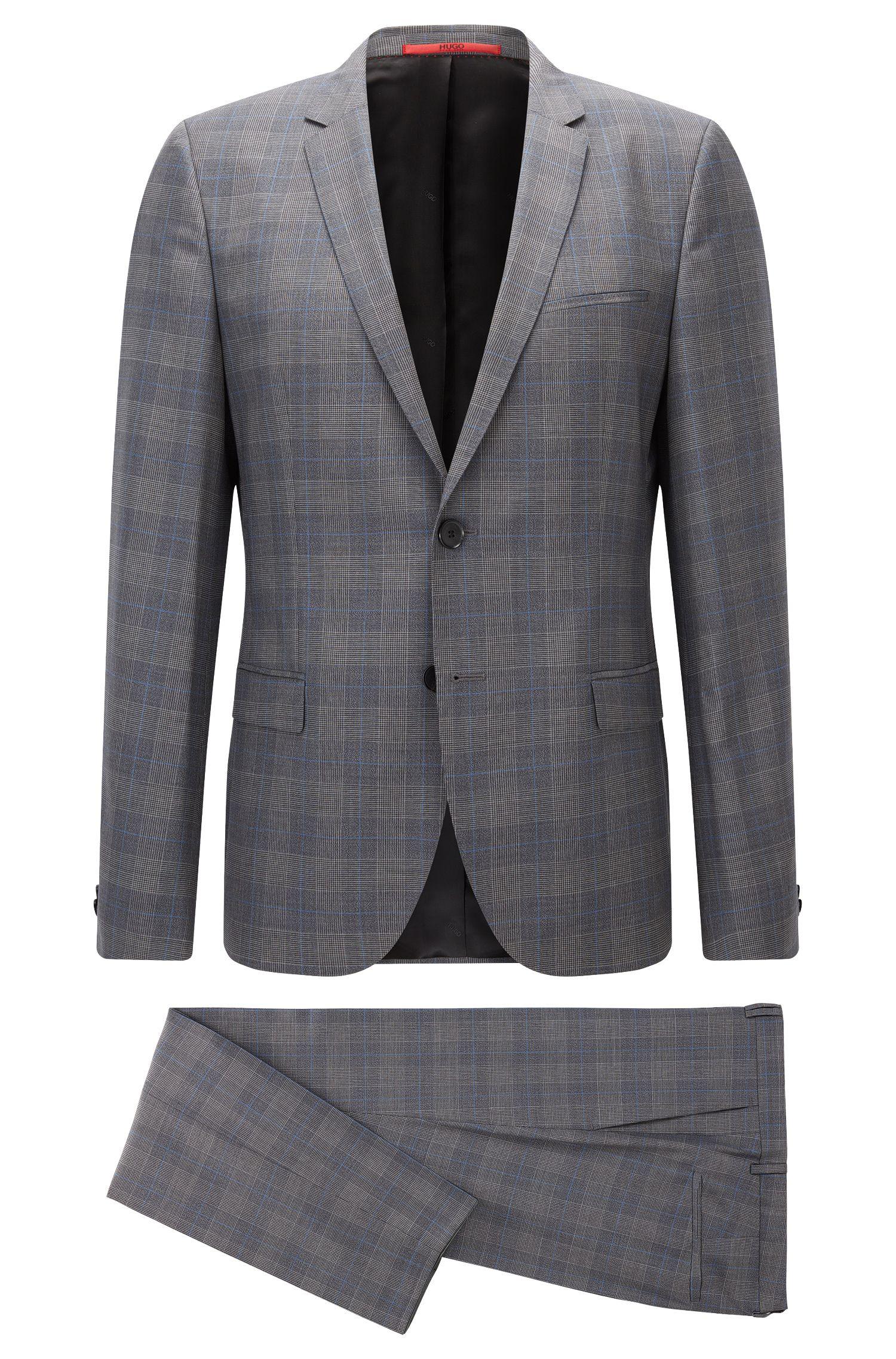 Karierter Extra-Slim-Fit-Anzug aus Schurwolle