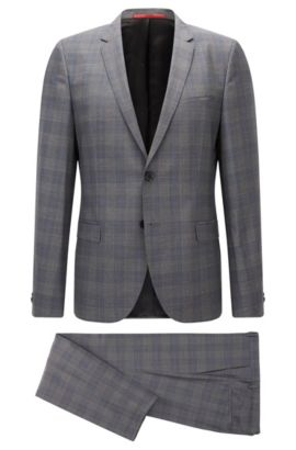 Extra-slim-fit check suit in virgin wool, Open Grey