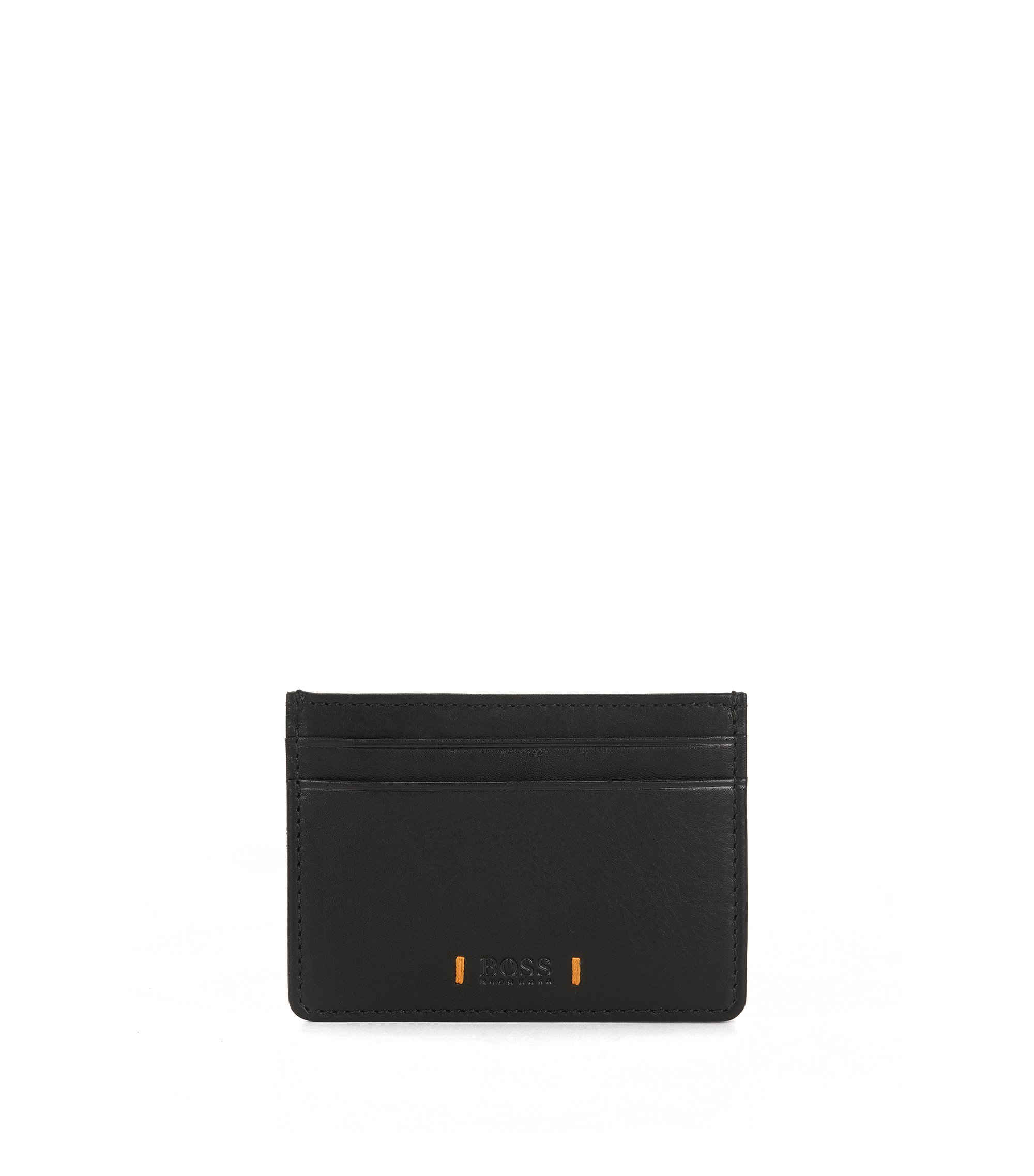 Leather card holder with signature stitching, Black