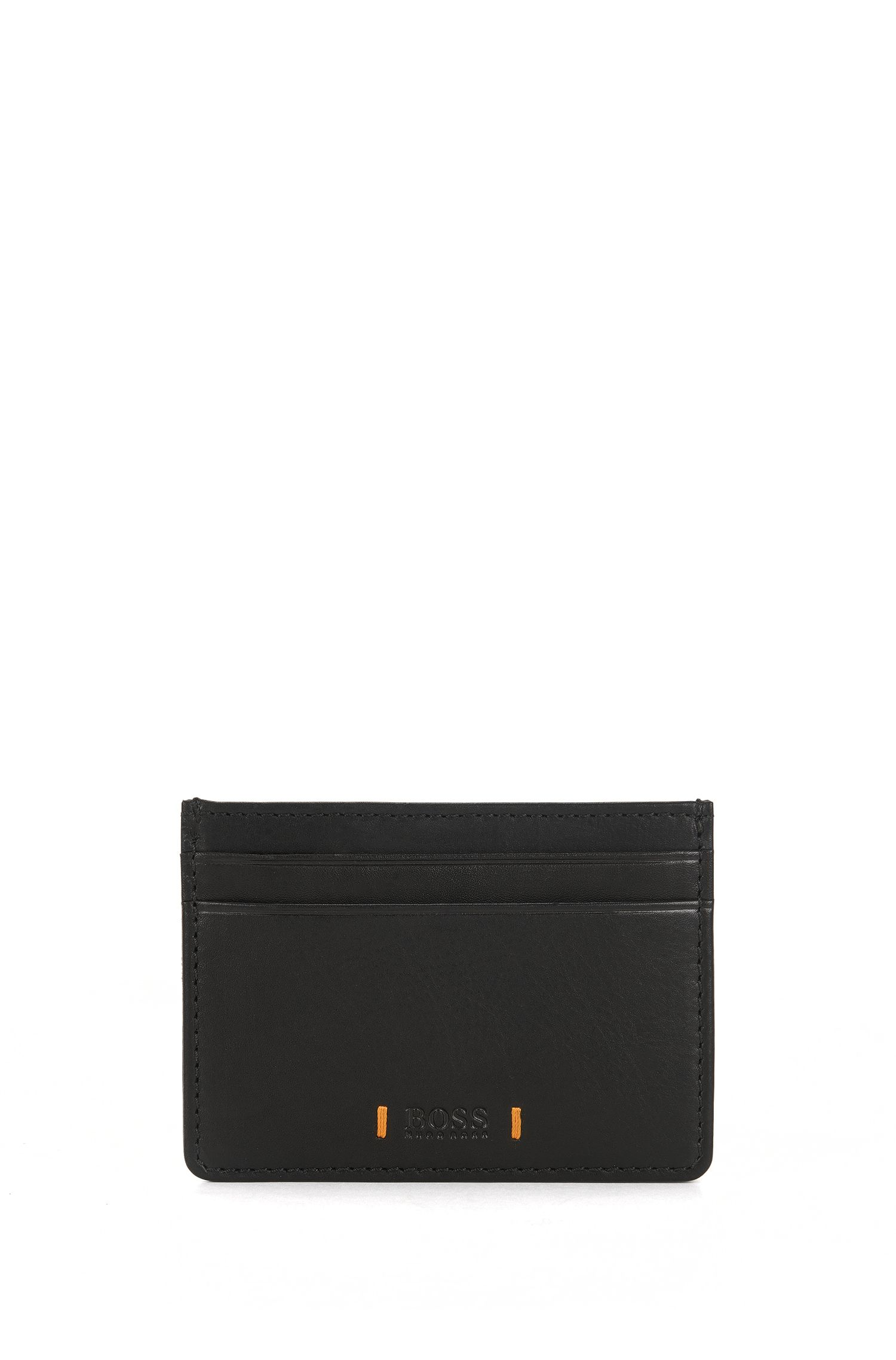 Leather card holder with signature stitching