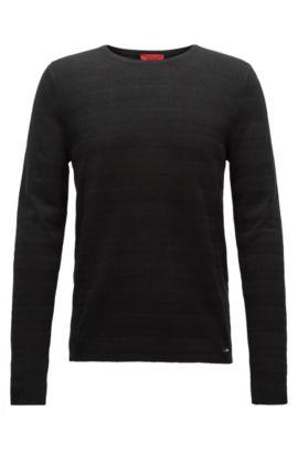 Gestreifter Slim-Fit-Pullover aus gestricktem Jacquard, Schwarz