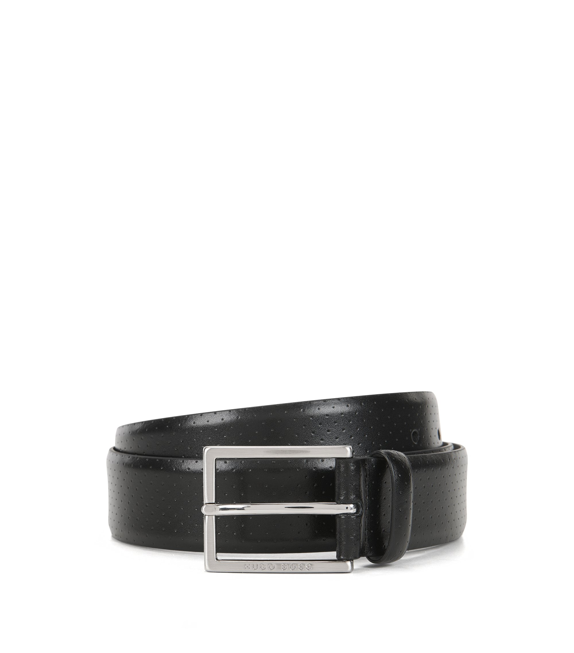 Cinturón de piel perforada con hebilla, Negro