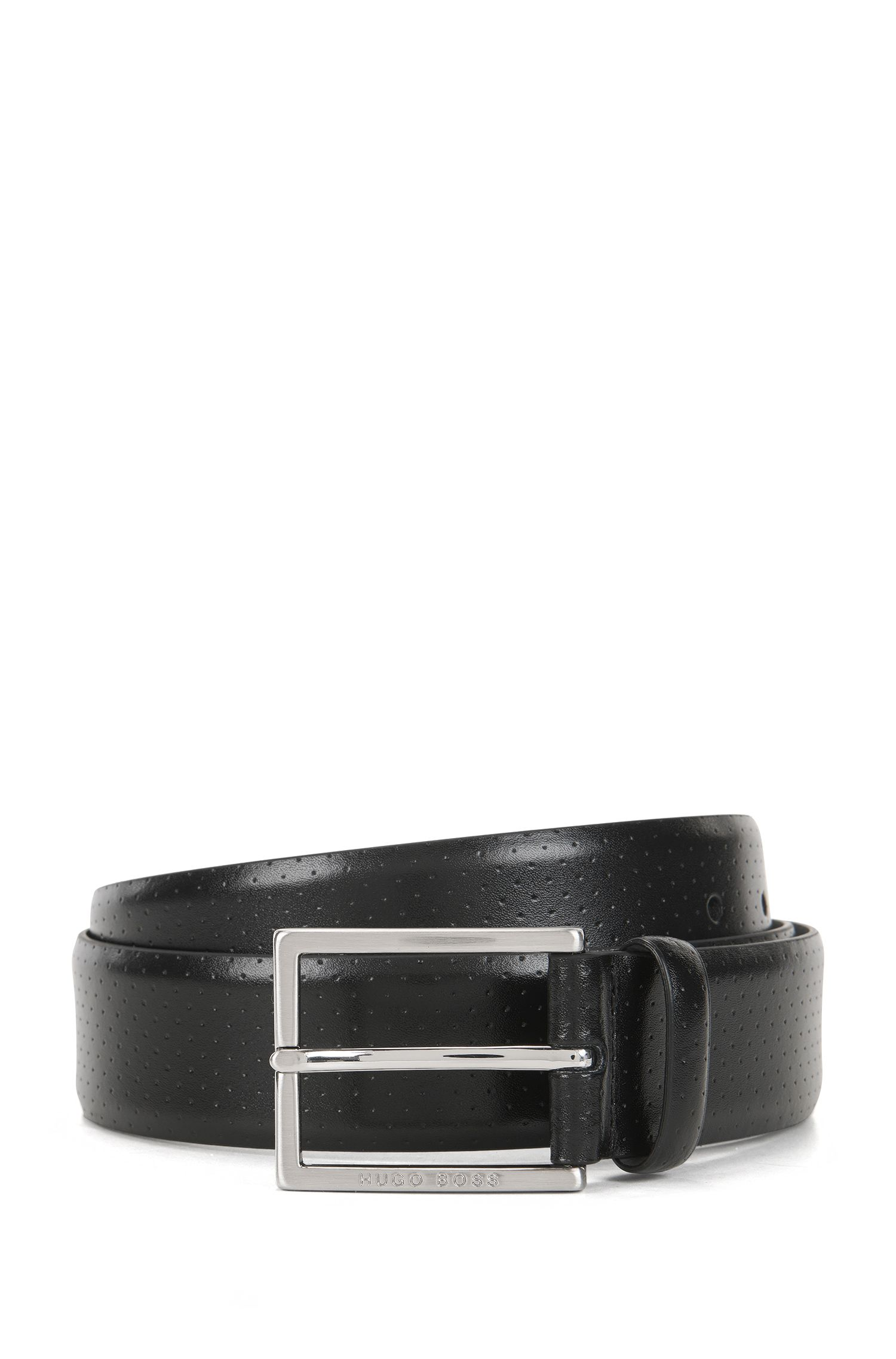 Perforated leather pin-buckle belt