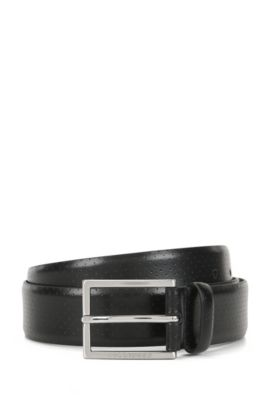 Perforated leather pin-buckle belt, Black
