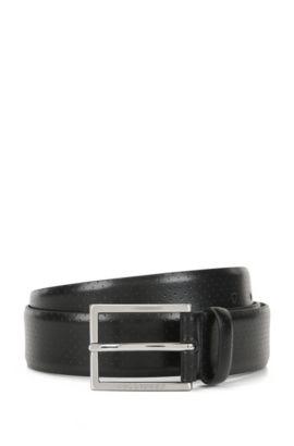 Gürtel aus perforiertem Leder mit Dornschließe, Schwarz