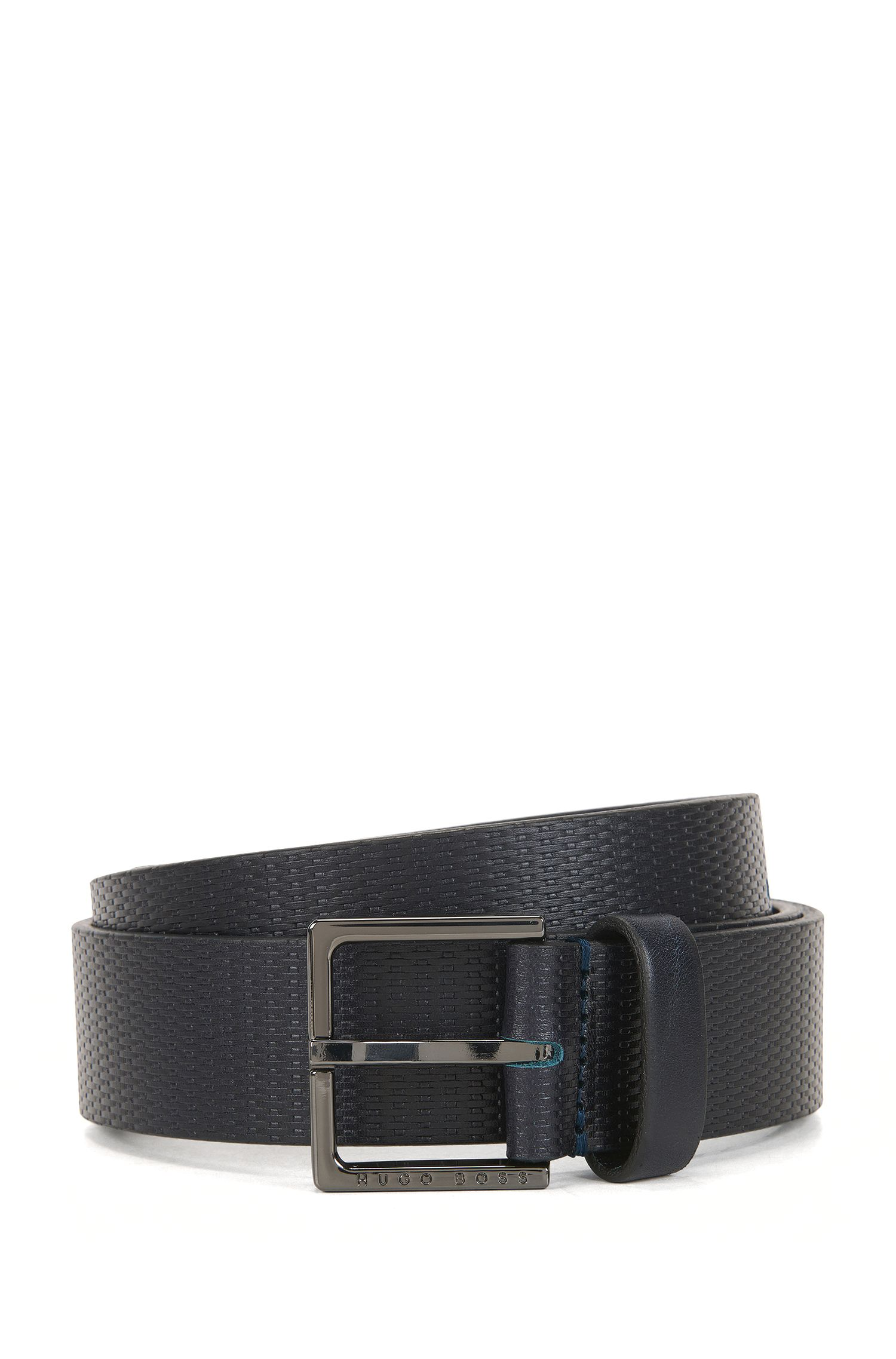 Pin-buckle belt in printed leather