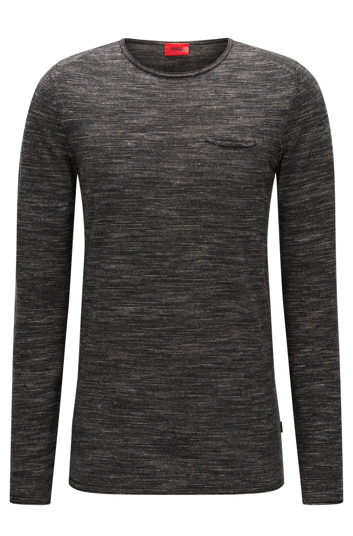 Crew-neck wool blend sweater with rolled edges