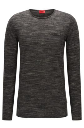Crew-neck wool blend sweater with rolled edges, Open Grey