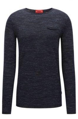 Oversize Pullover aus Woll-Mix mit Rundhalsausschnitt, Dunkelblau