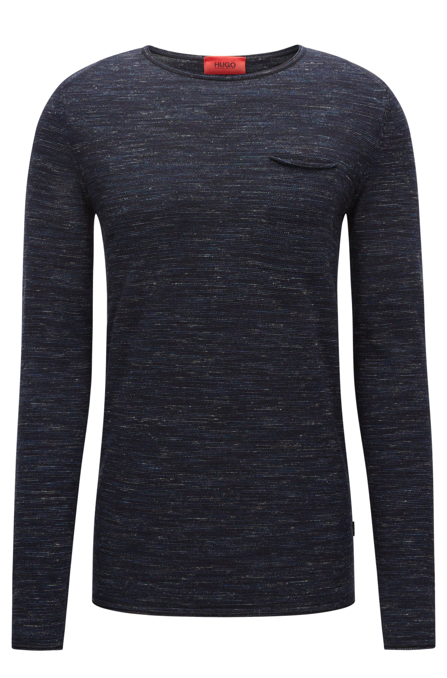 Jersey de cuello redondo en mezcla de lana con bordes enrollados