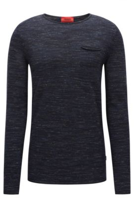 Crew-neck wool blend sweater with rolled edges, Dark Blue