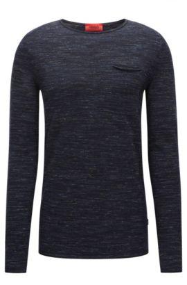 Jersey de cuello redondo en mezcla de lana con bordes enrollados, Azul oscuro