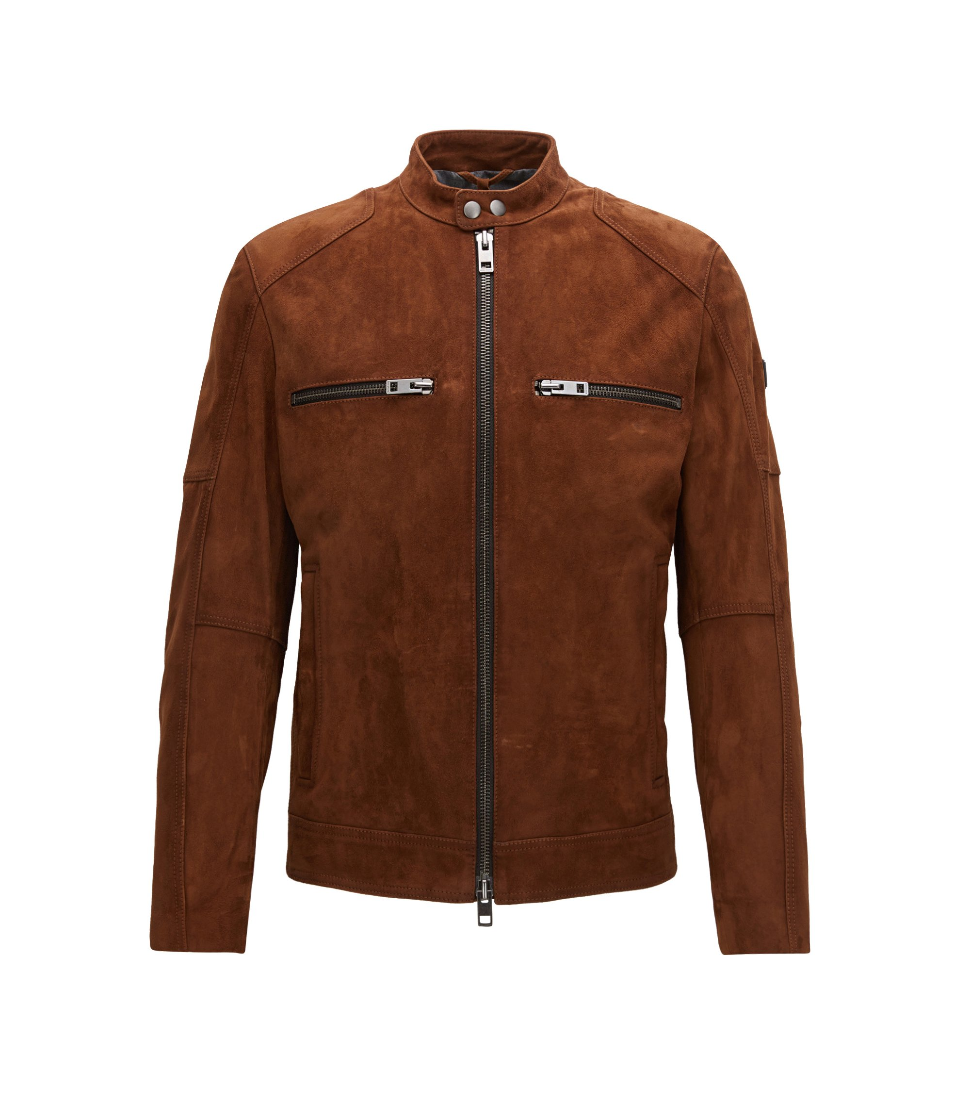 Slim-fit biker jacket in heavy suede, Brown