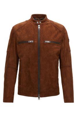 Slim-fit biker jacket in heavy suede, Bruin