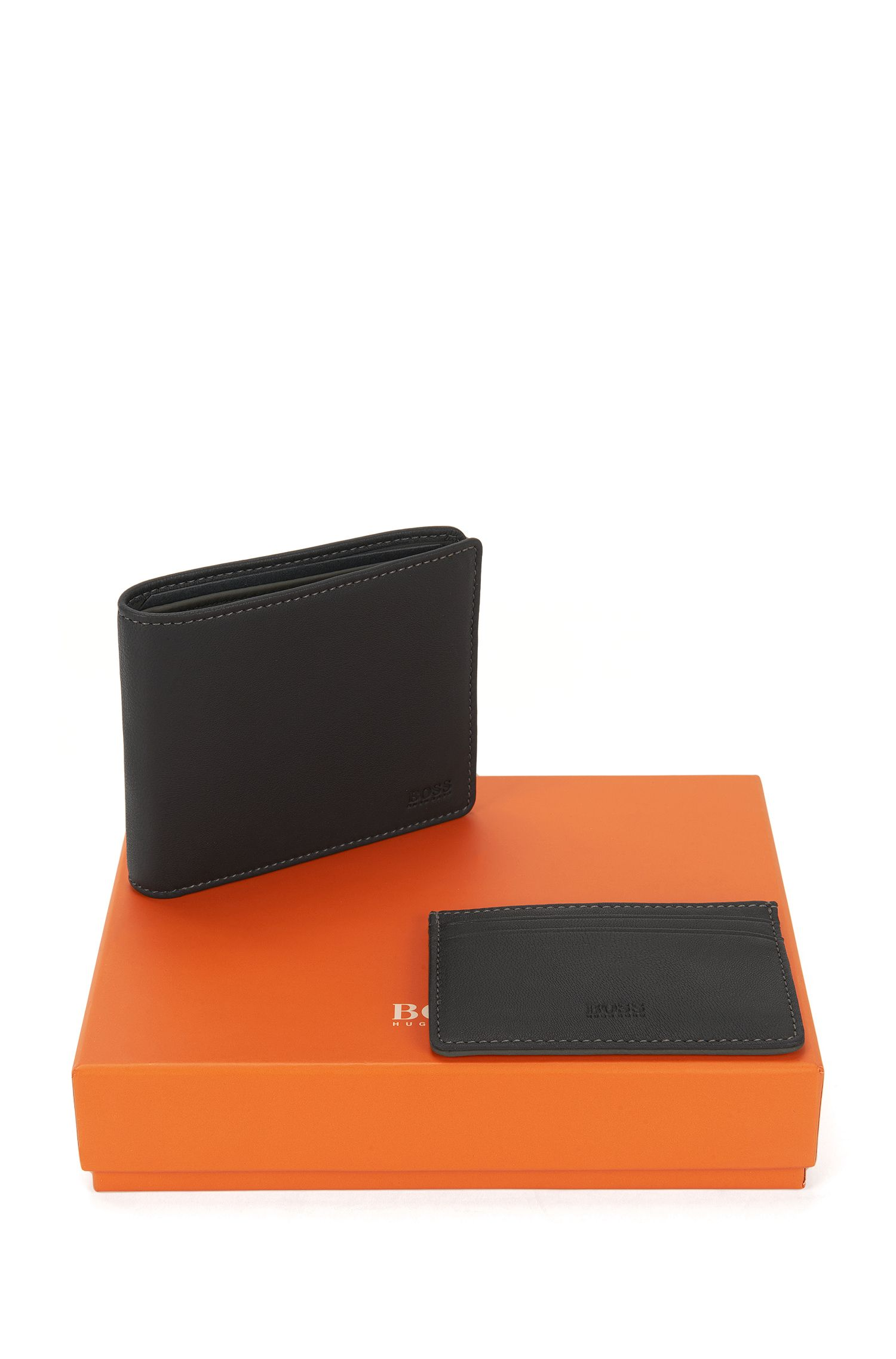 Bifold wallet and card holder gift set in soft sheen leather