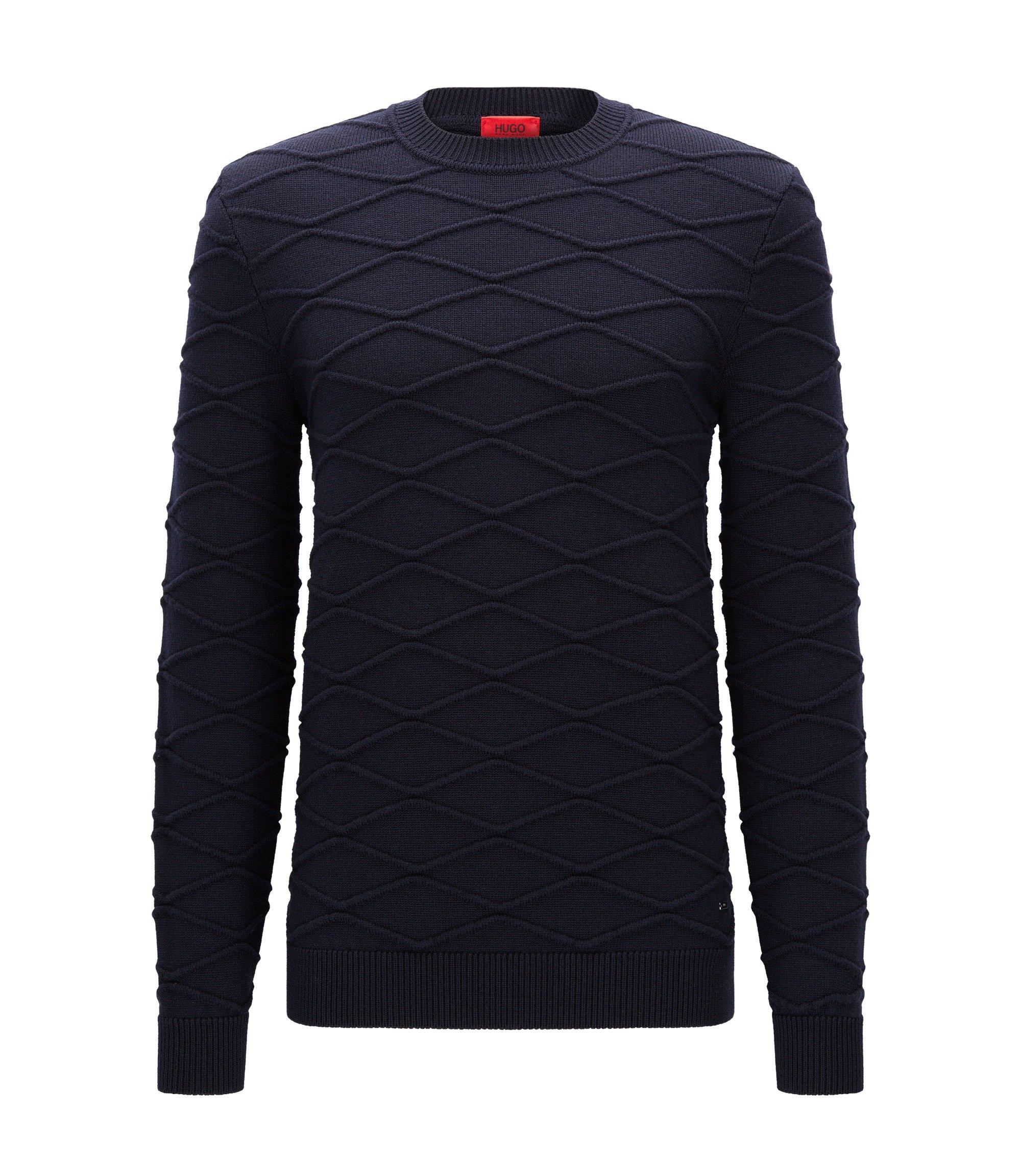 Maglione con lavorazione 3D in lana vergine, Blu scuro