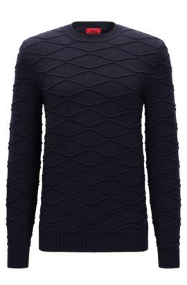 Jersey de lana virgen con textura 3D, Azul oscuro