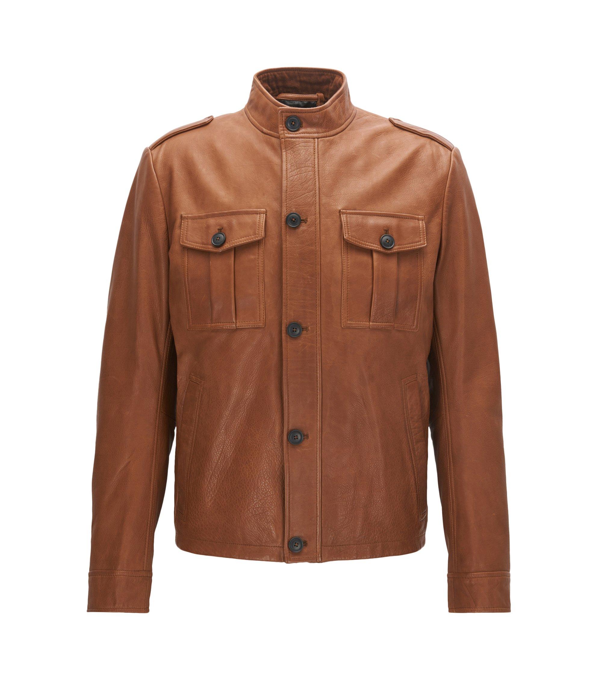 Field jacket slim fit in pelle , Marrone chiaro