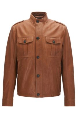 Slim-fit leather field jacket , Light Brown