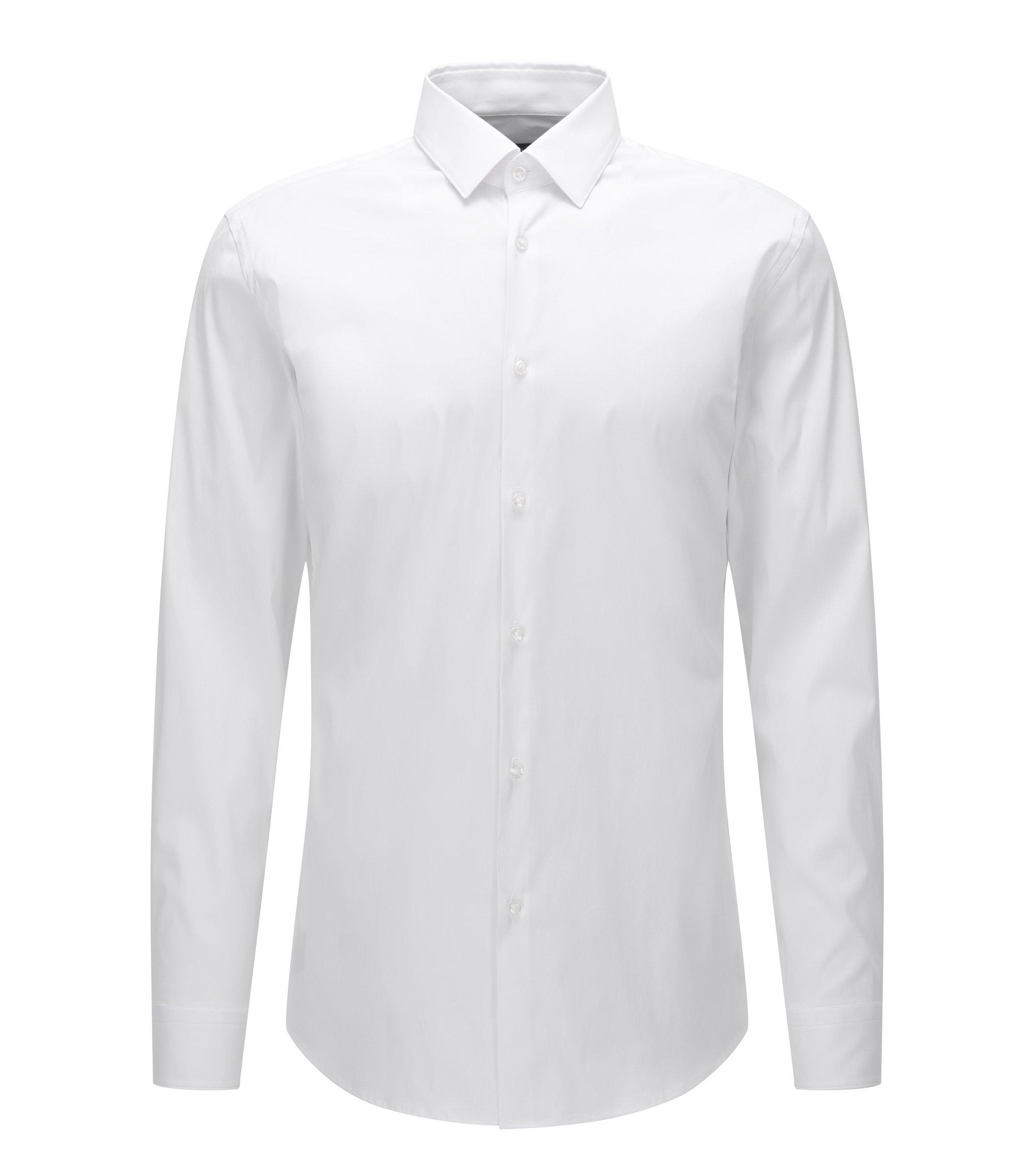 Slim-fit shirt in stretch cotton poplin, White