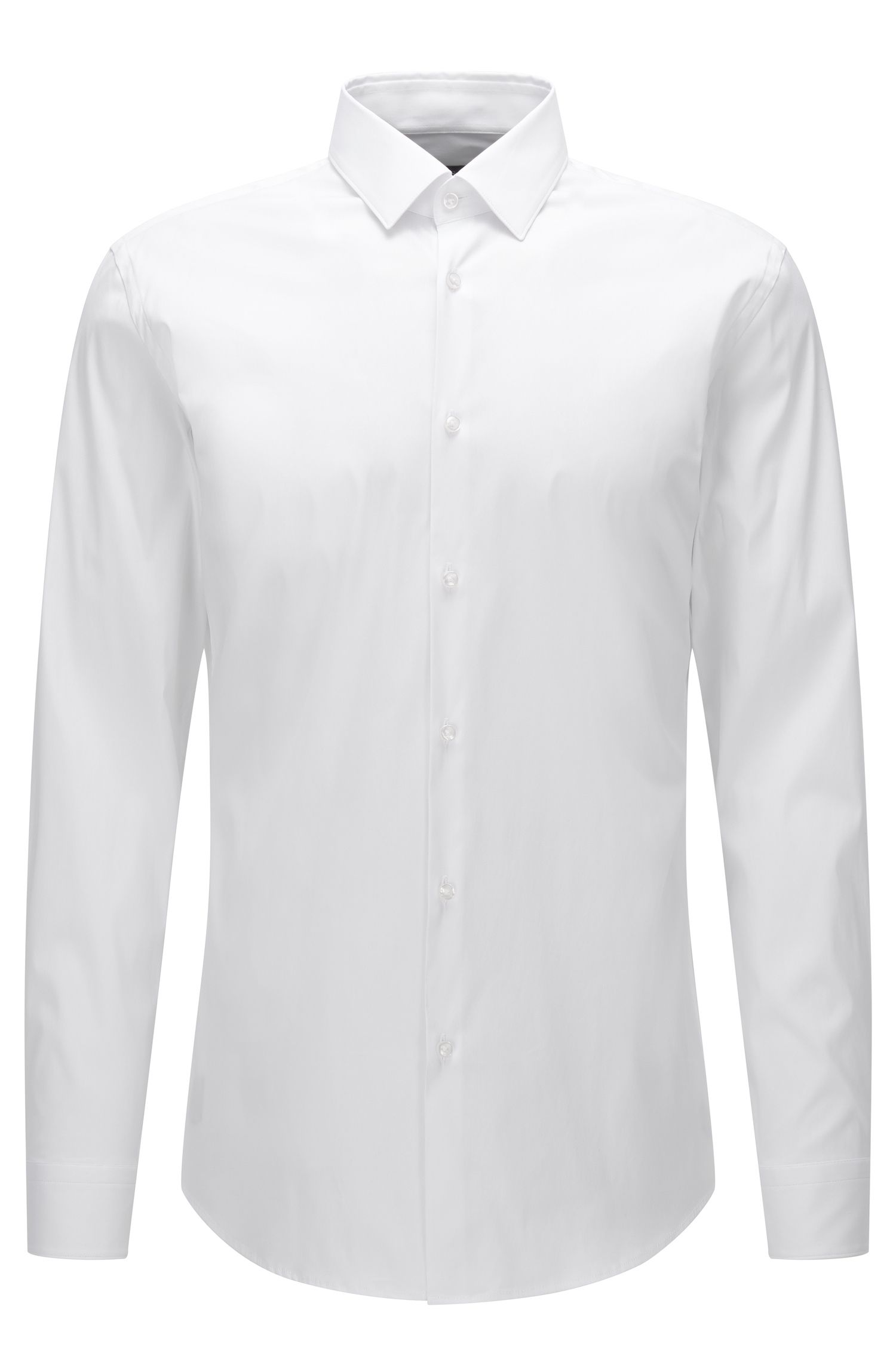 Slim-fit shirt in stretch cotton poplin