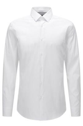 Slim-Fit-Hemd aus elastischer Baumwoll-Popeline, Weiß
