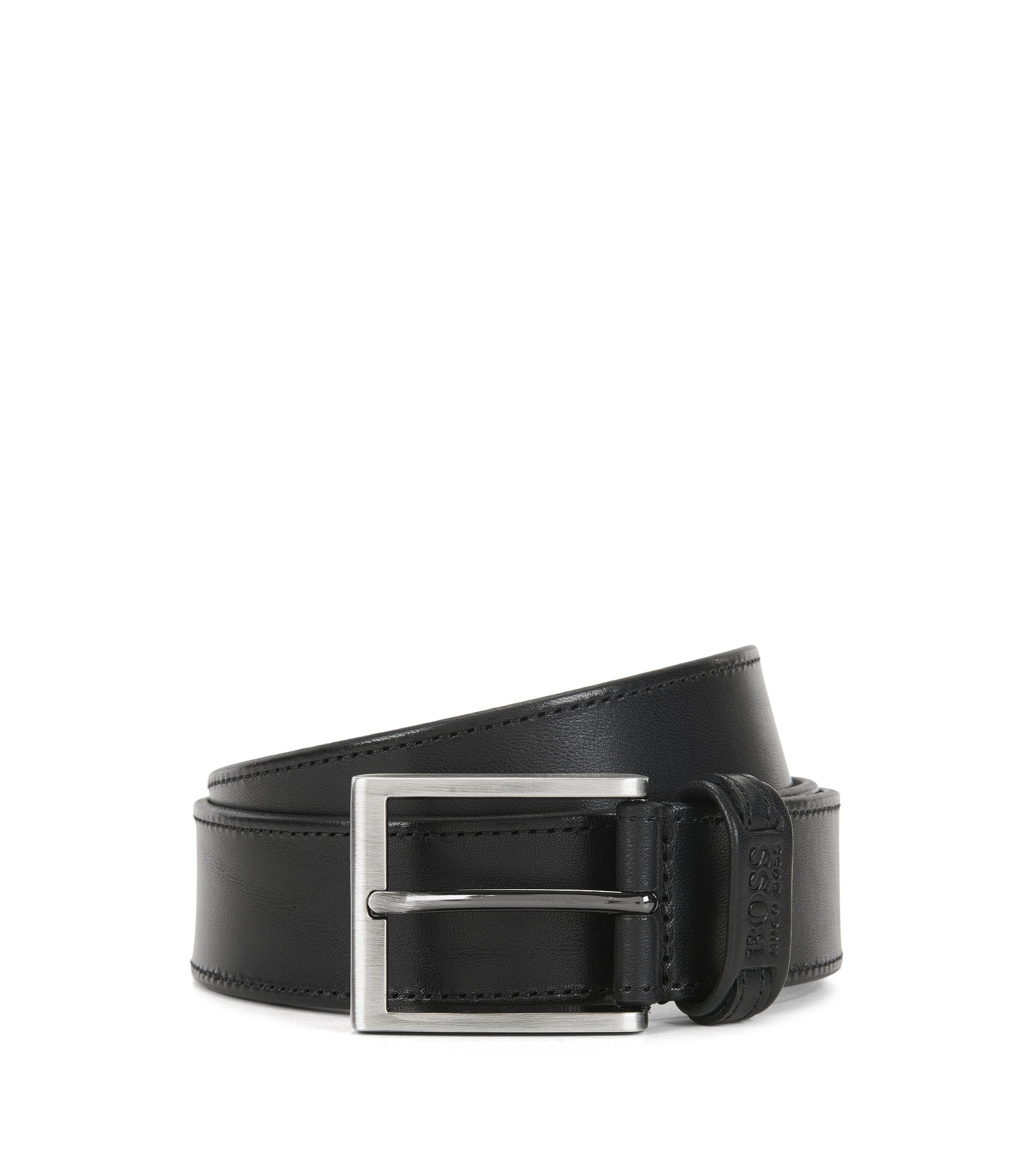 Leather belt with tonal stitching, Black