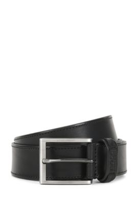 Leather belt with tonal stitching, Black