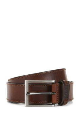Leather belt with tonal stitching, Brown