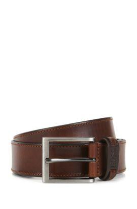 Cinturón de piel con costuras tonales, Marrón