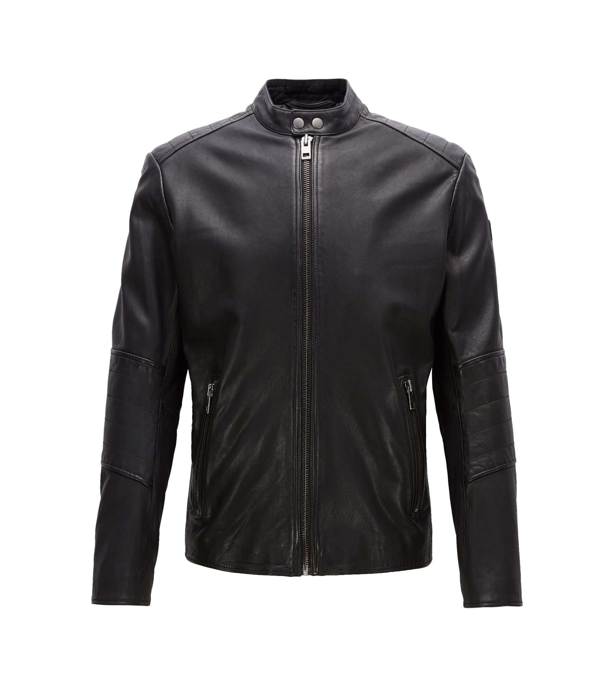 Slim-fit jacket in treated leather, Black