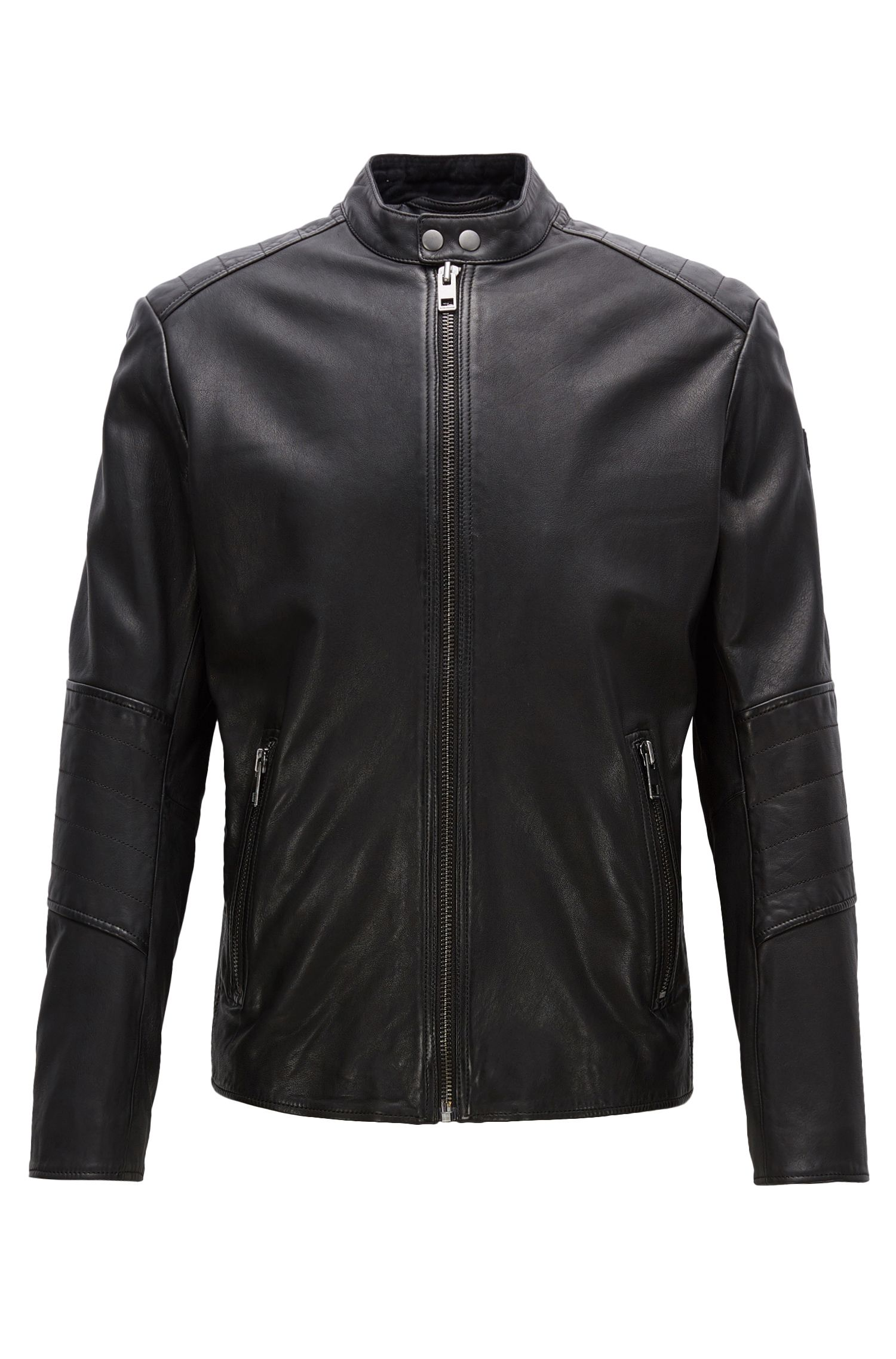 Slim-fit jacket in treated leather
