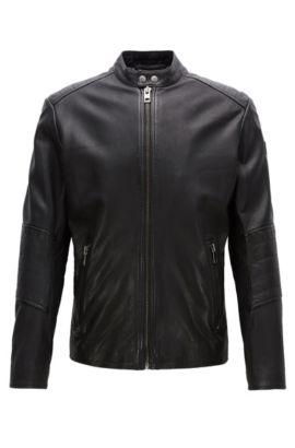 Slim-Fit Jacke aus behandeltem Leder, Schwarz