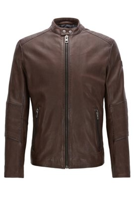 Slim-fit jacket in treated leather, Dark Brown