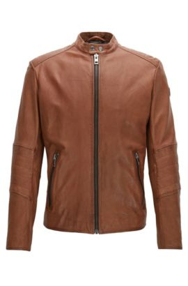 Slim-fit jacket in treated leather, Brown