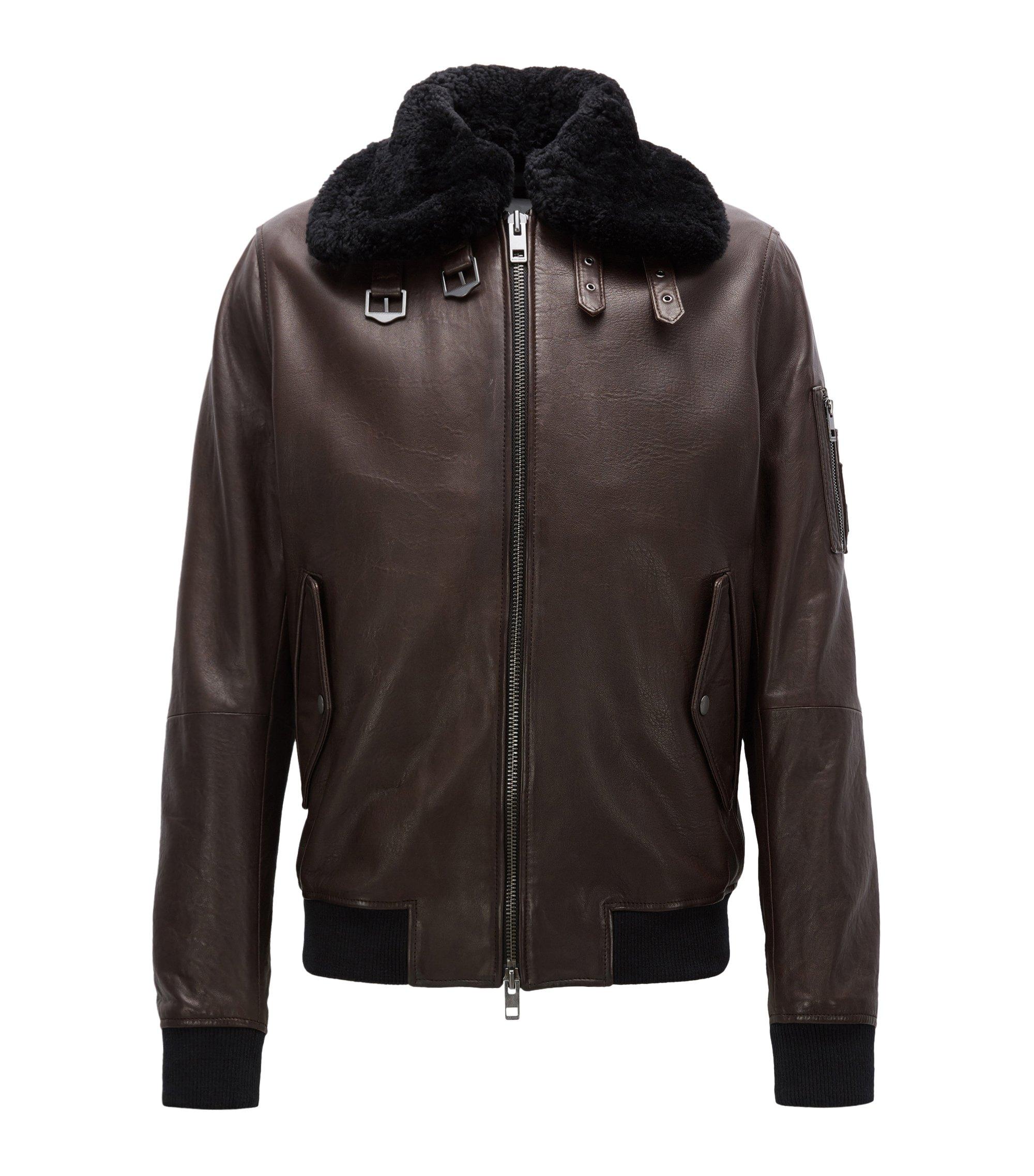 Slim-fit aviator jacket in New Zealand leather, Dark Brown