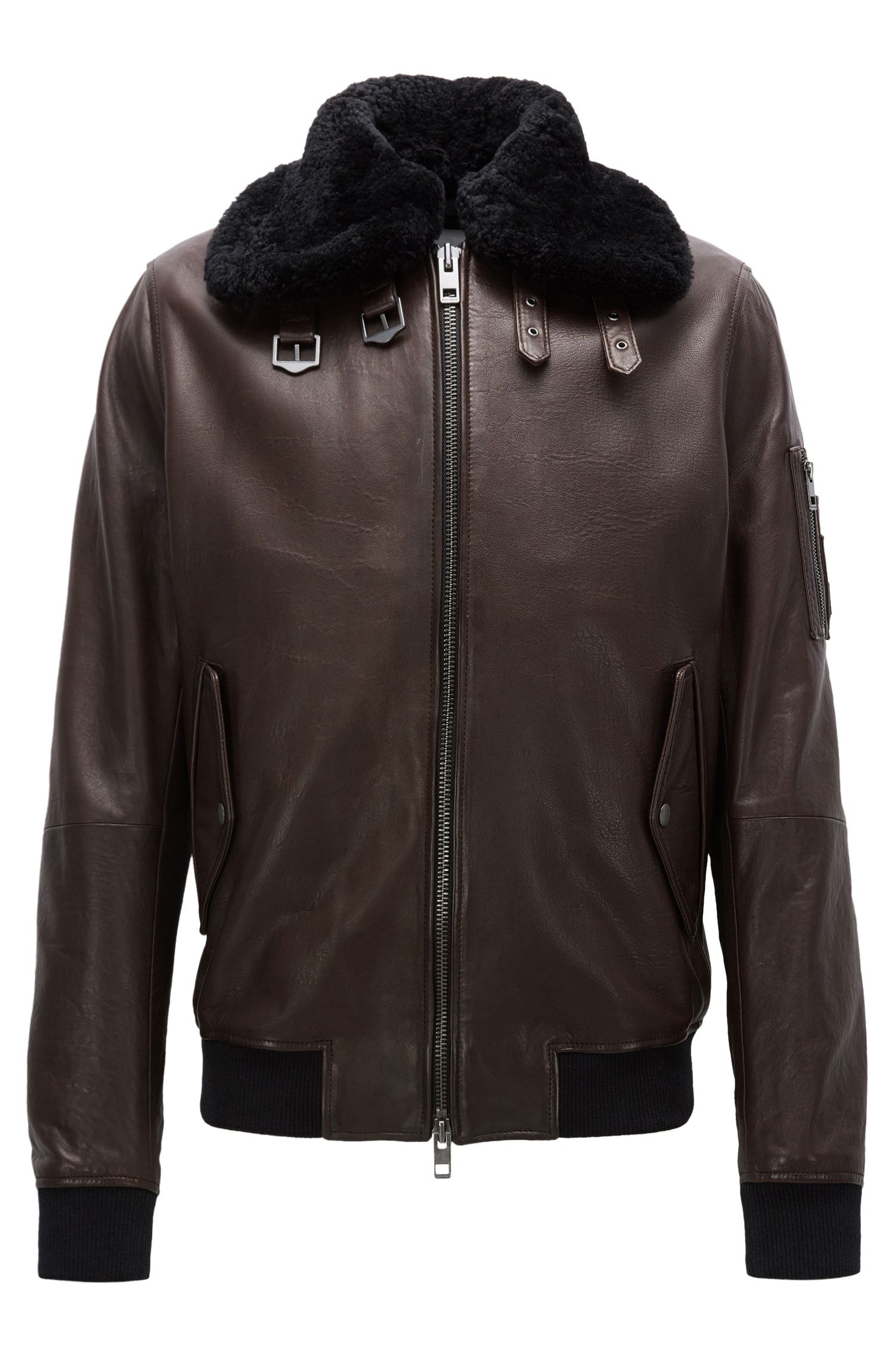 Slim-fit aviator jacket in New Zealand leather