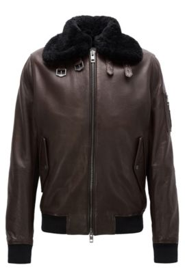 Slim-fit aviator jacket in New Zealand leather, Dark Brown