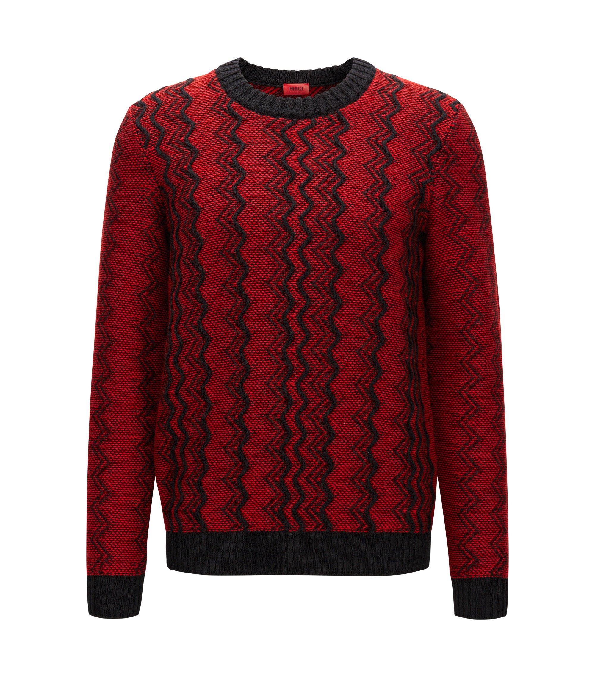 Zigzag sweater in virgin wool jacquard, Red