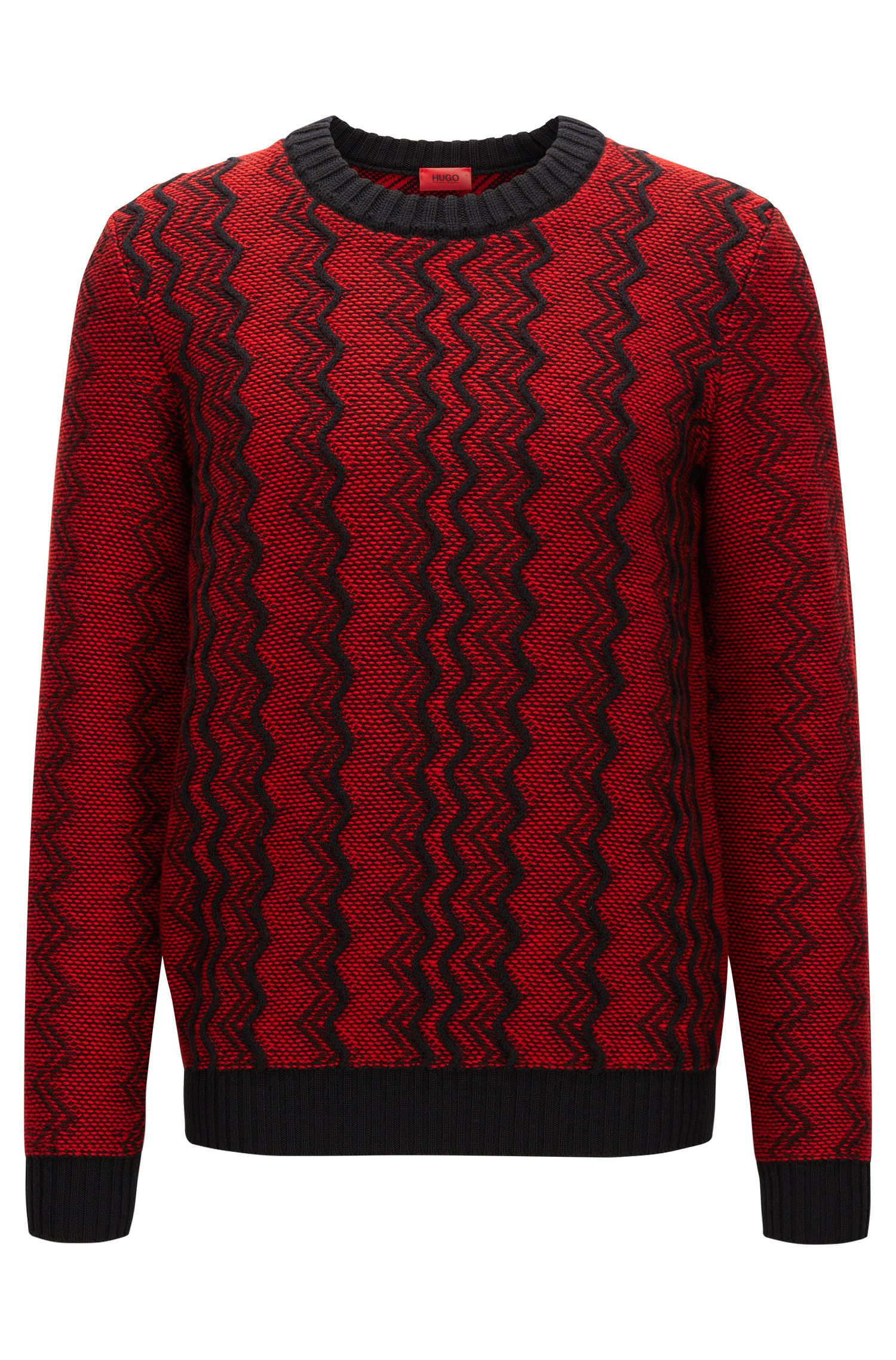 Zigzag sweater in virgin wool jacquard