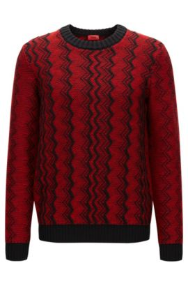Zigzag sweater in virgin wool jacquard, Red