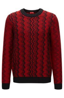 Regular-Fit Pullover aus Schurwolle mit Zickzack-Muster, Rot