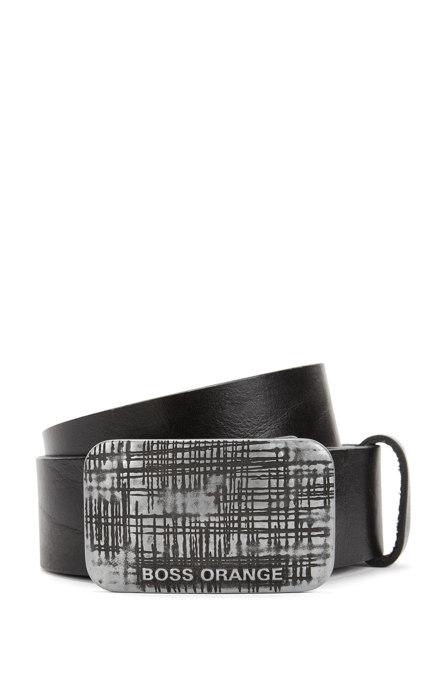 Plaque-buckle belt in rich leather