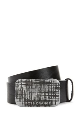 Plaque-buckle belt in rich leather, Black