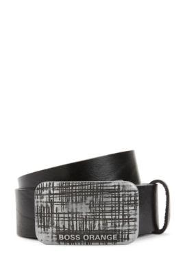 Cinturón de piel exclusiva con hebilla con placa, Negro