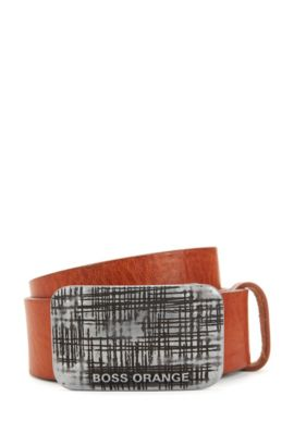 Gürtel aus edlem Leder mit Koppelschließe, Braun